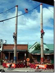 Lumberman pole climbing